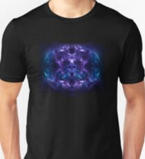 Fractal Flame Skull v2 (Blue/Purple) T-Shirt