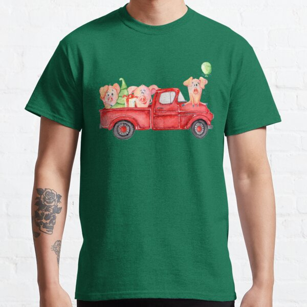 Christmas Retro Truck with Tree and Cute Pigs Classic T-Shirt