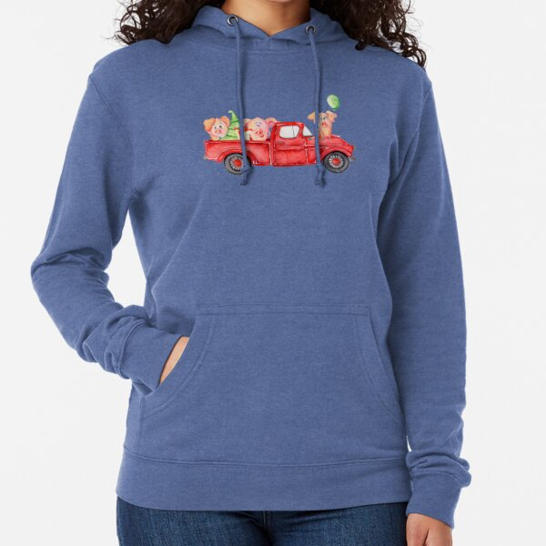 Christmas Retro Truck with Tree and Cute Pigs Lightweight Hoodie