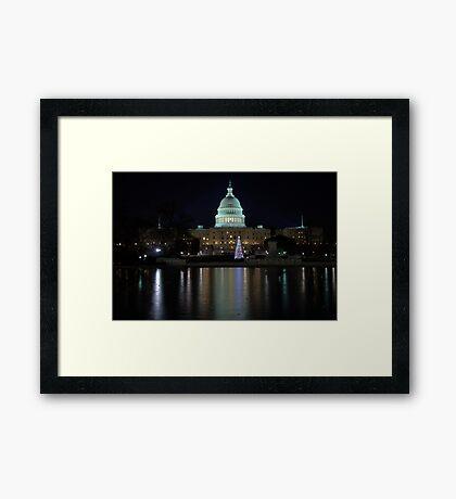 U.S. Capitol Building at Night Framed Print