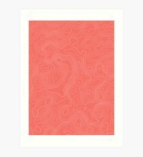 Topographic Map 04 - Living Coral Art Print