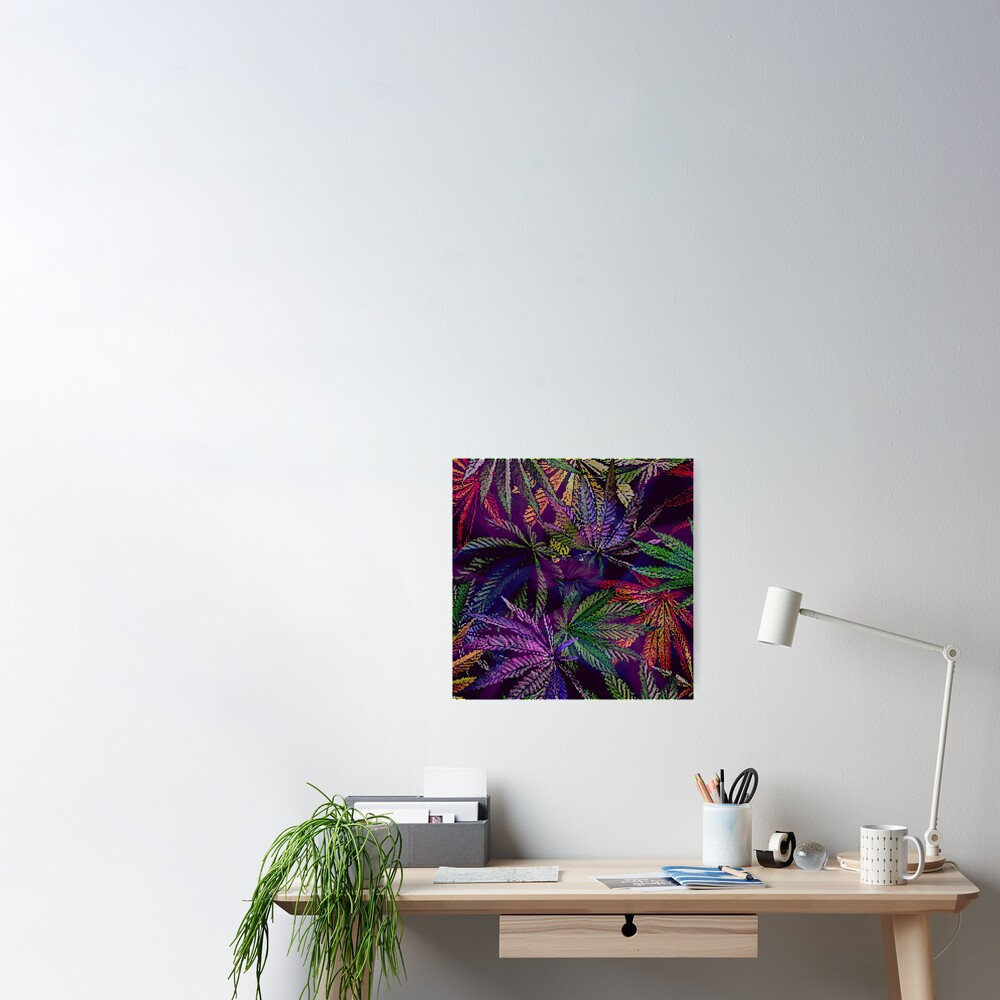 Psychedelic Marijuana Cannabis Leaves Poster