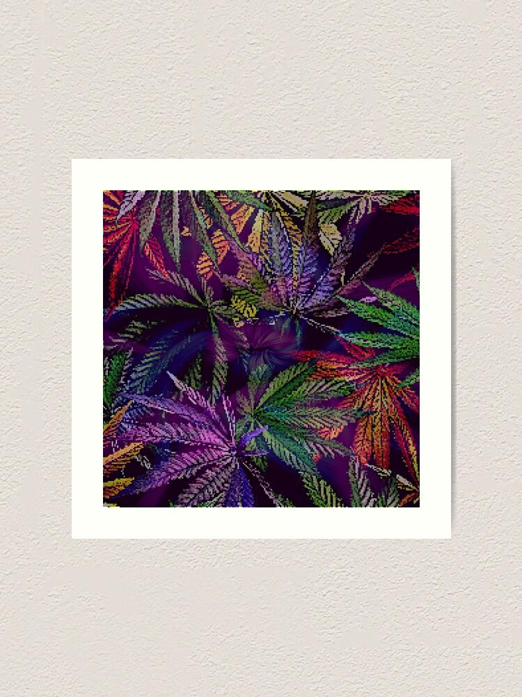 Alternate view of Psychedelic Marijuana Cannabis Leaves Art Print