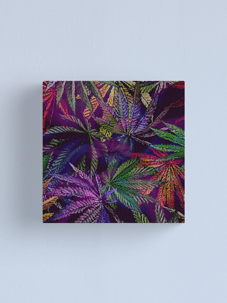 Alternate view of Psychedelic Marijuana Cannabis Leaves Canvas Print