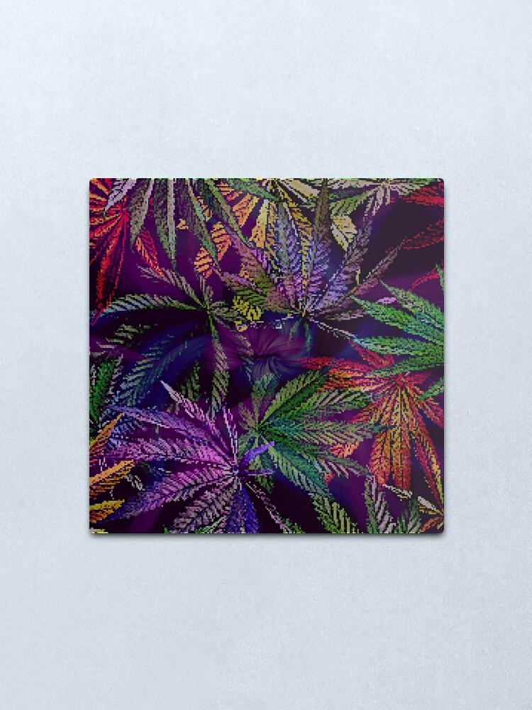 Alternate view of Psychedelic Marijuana Cannabis Leaves Metal Print