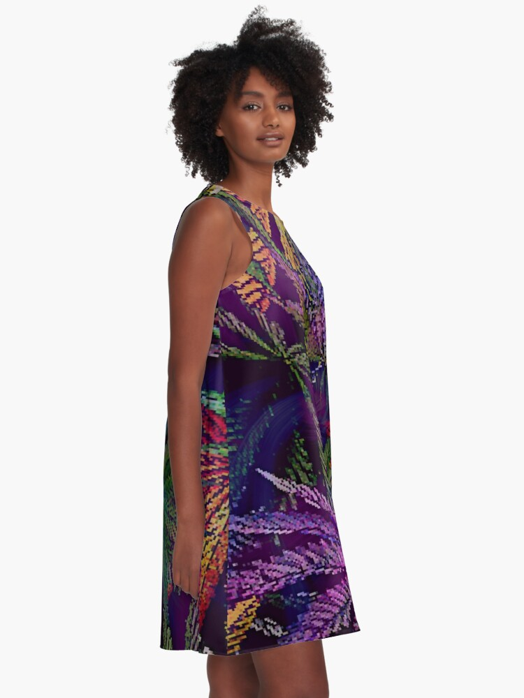 Alternate view of Psychedelic Marijuana Cannabis Leaves A-Line Dress