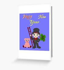 Schornsteinfeger Glücks Schwein Kleeblatt Neujahr Grußkarte