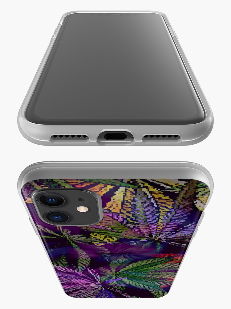 Alternate view of Psychedelic Marijuana Cannabis Leaves iPhone Case & Cover