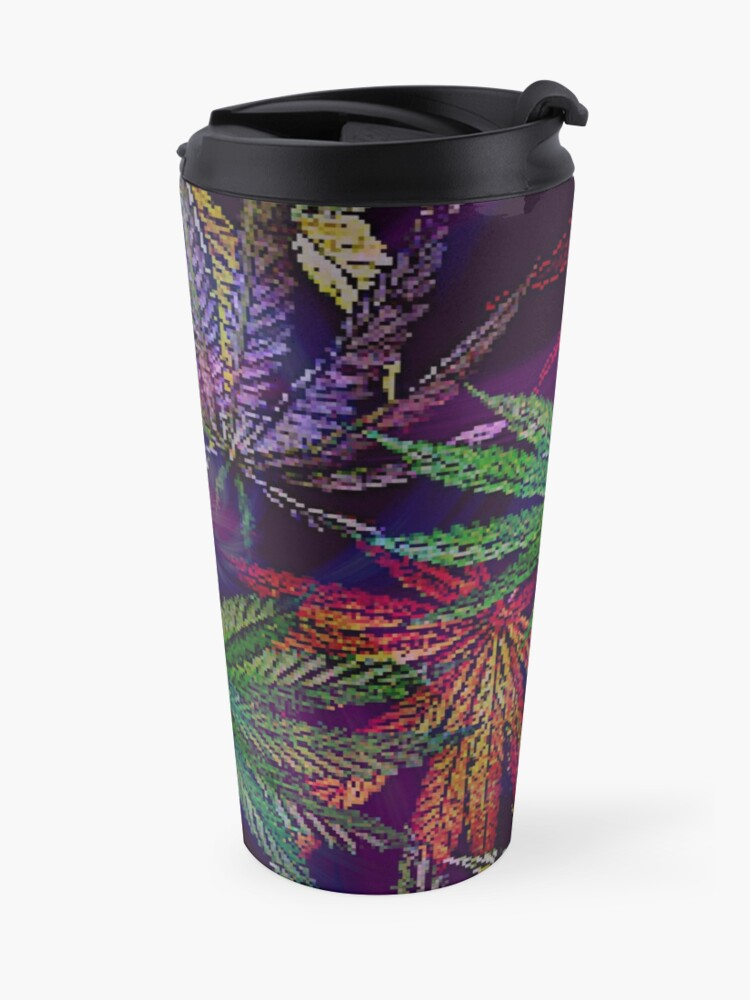 Alternate view of Psychedelic Marijuana Cannabis Leaves Travel Mug