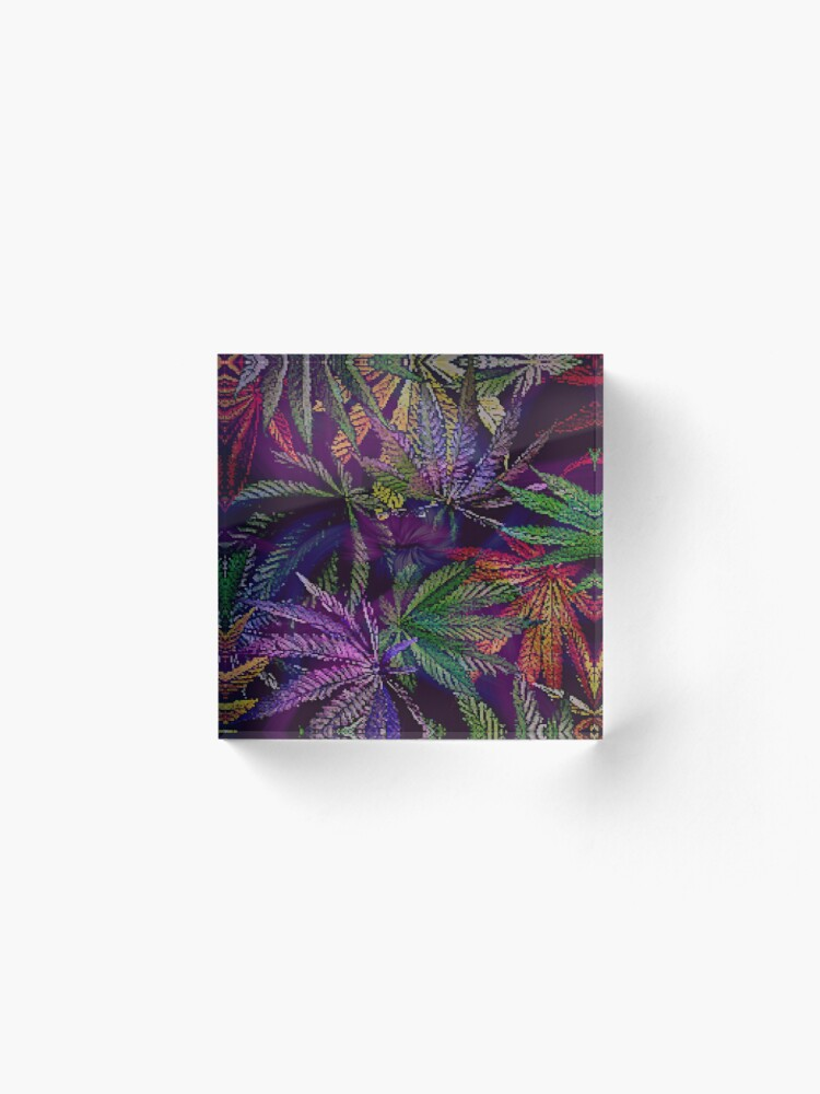 Alternate view of Psychedelic Marijuana Cannabis Leaves Acrylic Block