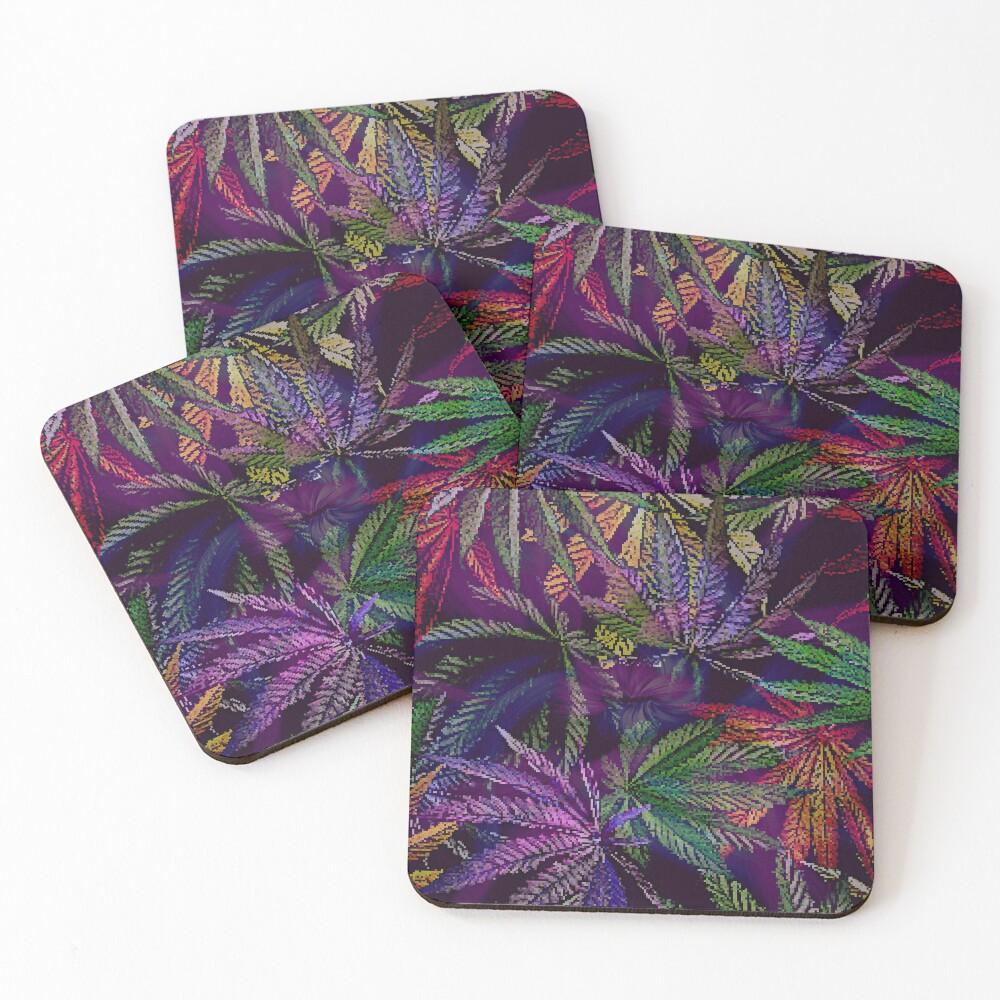 Psychedelic Marijuana Cannabis Leaves Coasters (Set of 4)