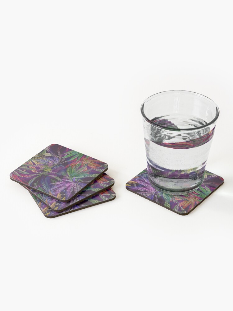 Alternate view of Psychedelic Marijuana Cannabis Leaves Coasters (Set of 4)