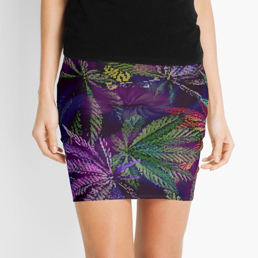 Psychedelic Marijuana Cannabis Leaves Mini Skirt