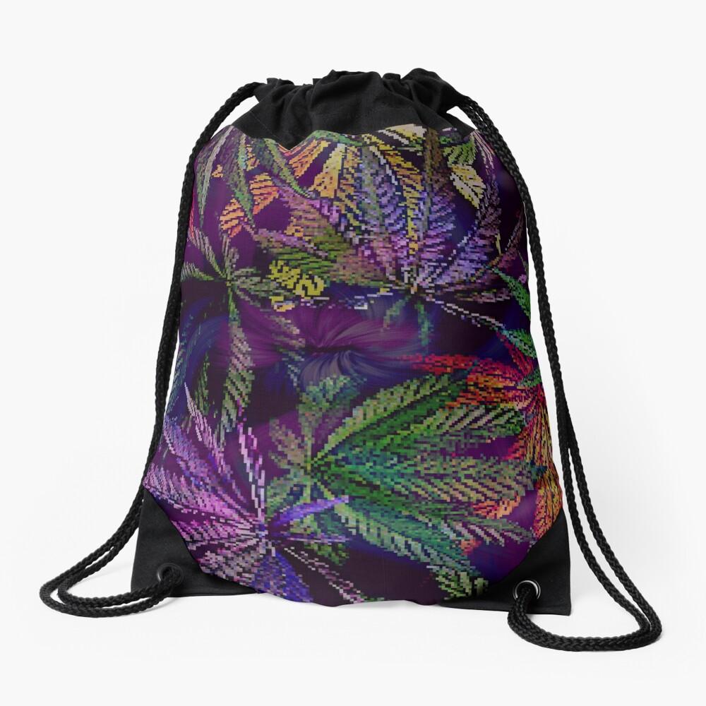 Psychedelic Marijuana Cannabis Leaves Drawstring Bag