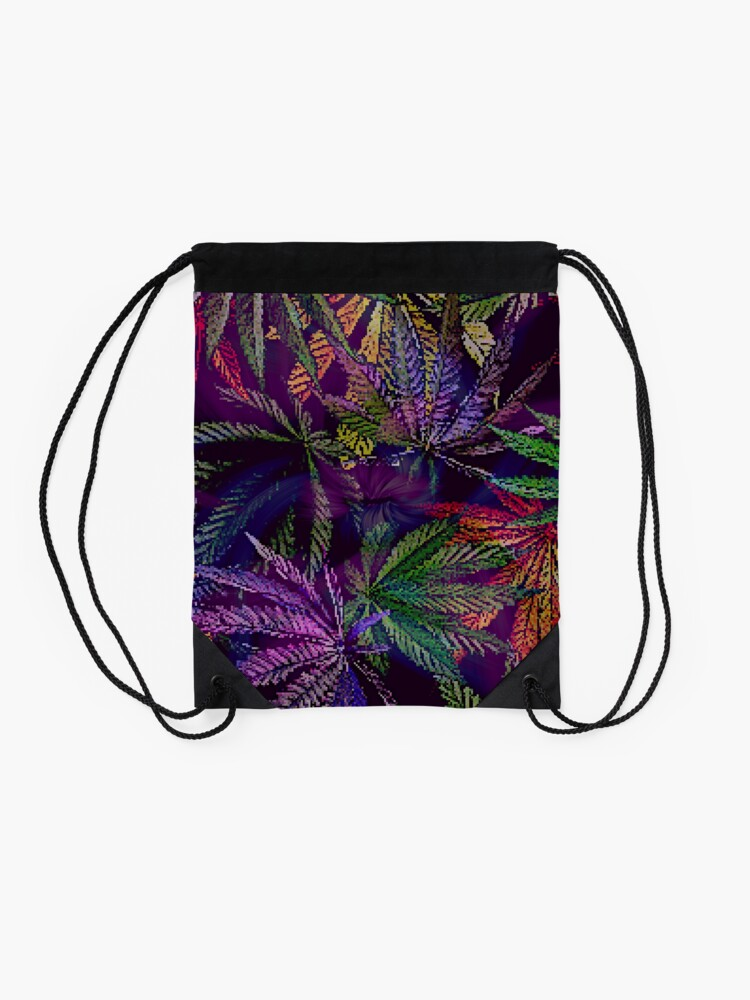 Alternate view of Psychedelic Marijuana Cannabis Leaves Drawstring Bag