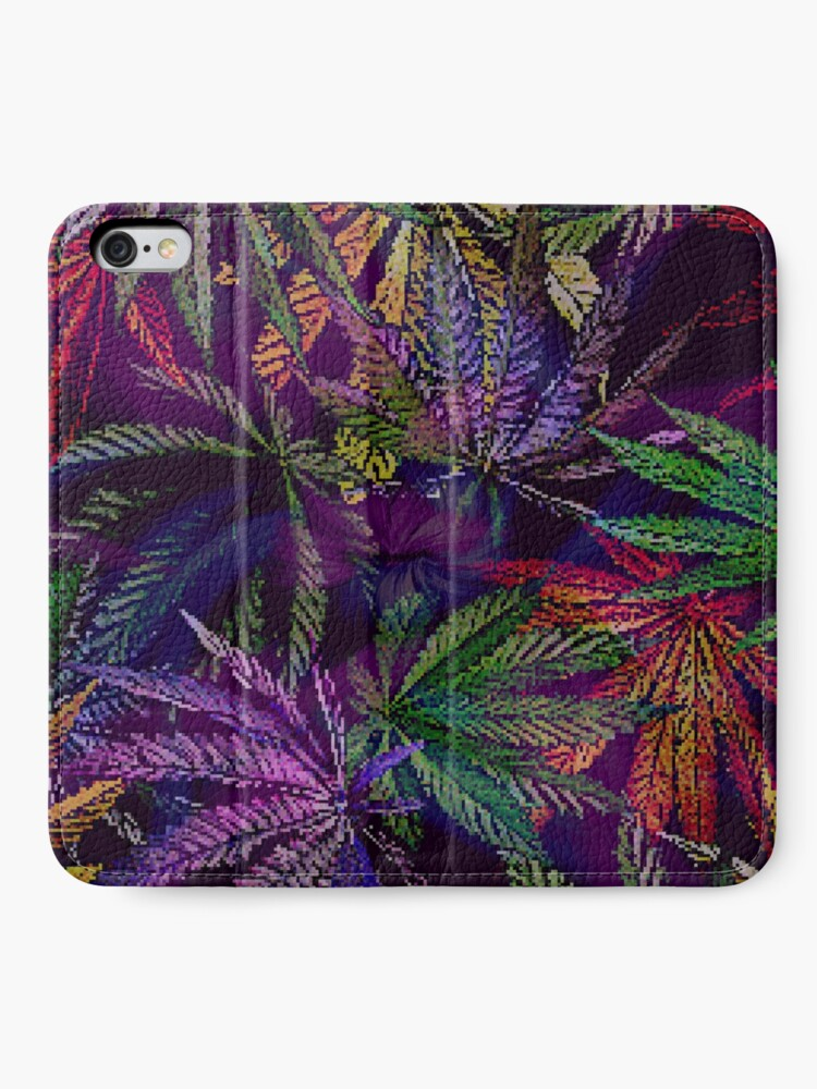 Alternate view of Psychedelic Marijuana Cannabis Leaves iPhone Wallet