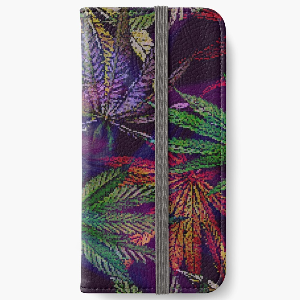 Psychedelic Marijuana Cannabis Leaves iPhone Wallet