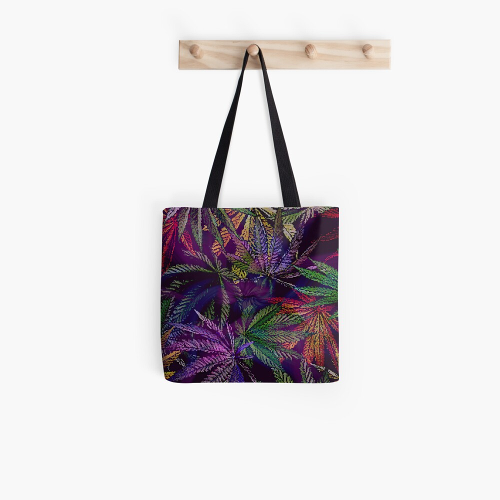 Psychedelic Marijuana Cannabis Leaves Tote Bag