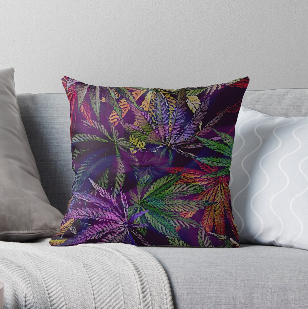 Psychedelic Marijuana Cannabis Leaves Throw Pillow