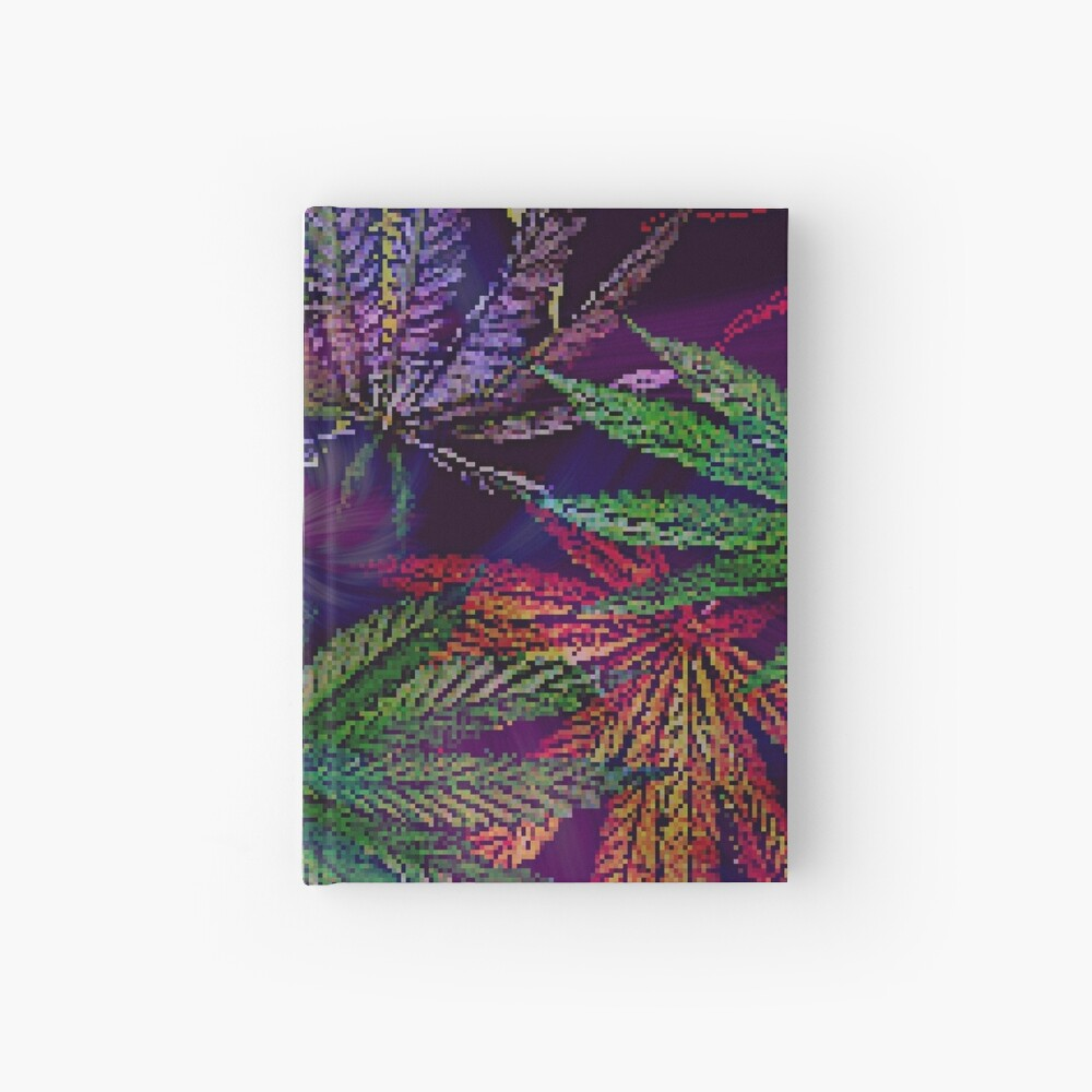 Psychedelic Marijuana Cannabis Leaves Hardcover Journal