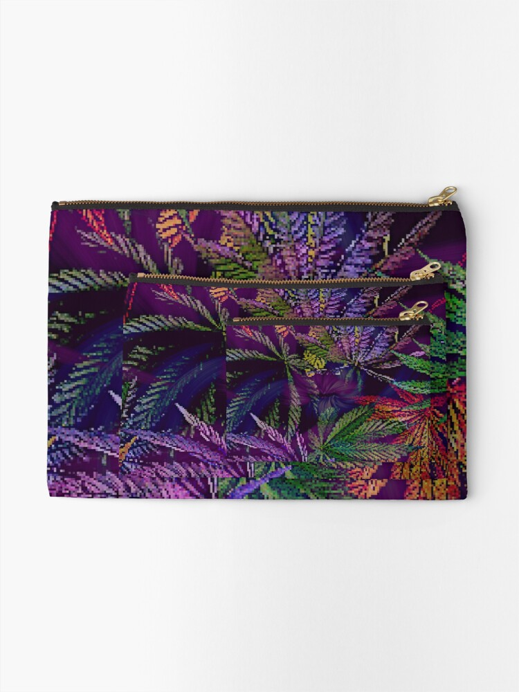 Alternate view of Psychedelic Marijuana Cannabis Leaves Zipper Pouch