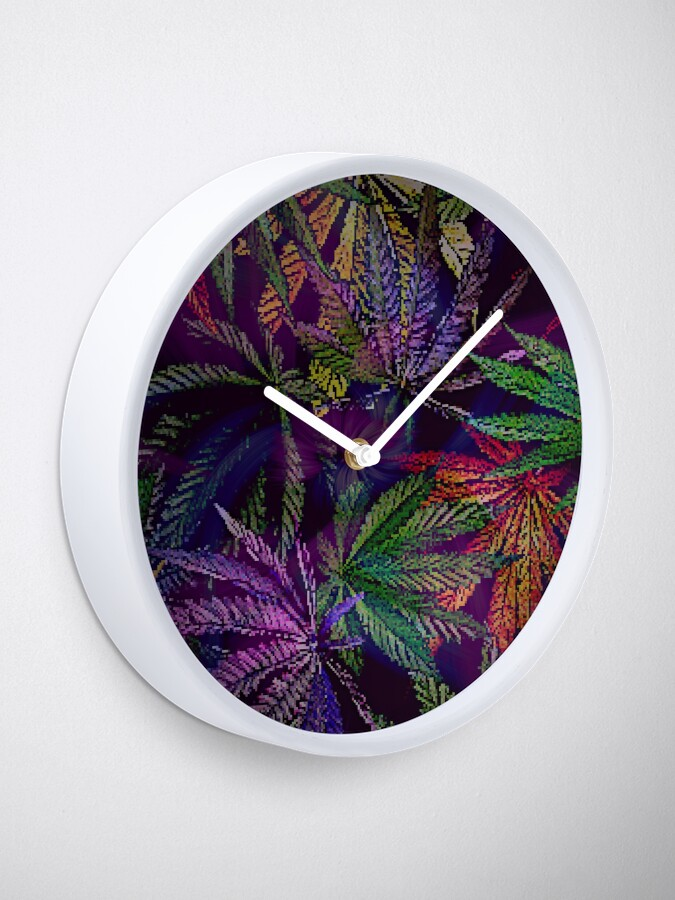 Alternate view of Psychedelic Marijuana Cannabis Leaves Clock