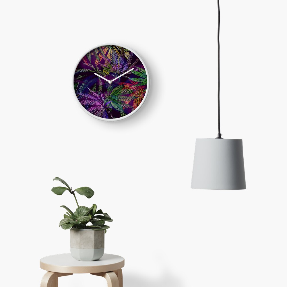 Psychedelic Marijuana Cannabis Leaves Clock