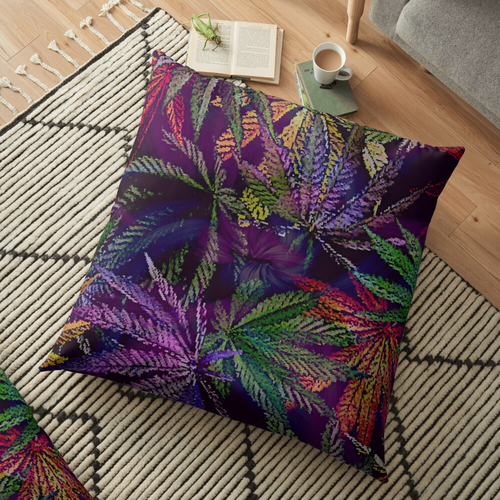 Psychedelic Marijuana Cannabis Leaves Floor Pillow