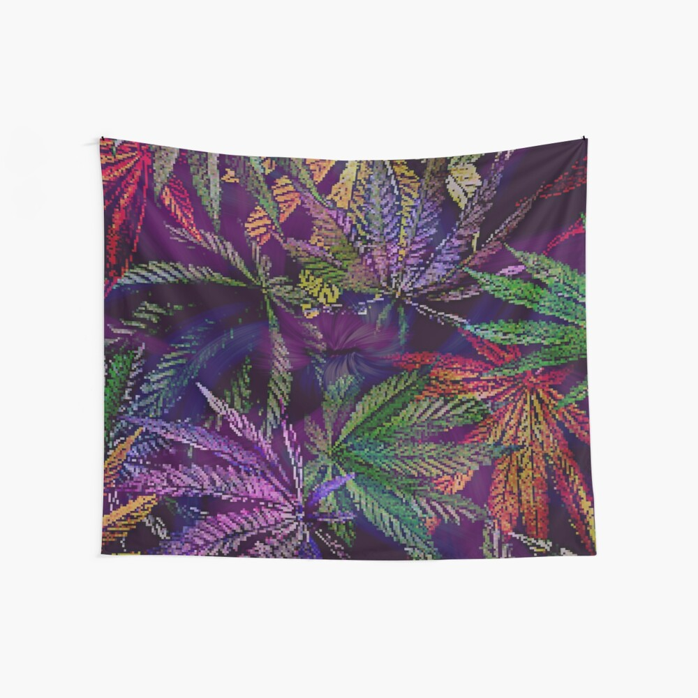 Psychedelic Rainbow Marijuana Collection Wall Tapestry
