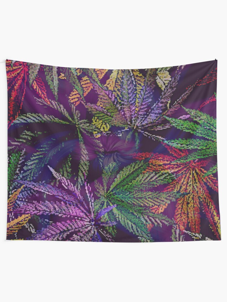 Alternate view of Psychedelic Marijuana Cannabis Leaves Tapestry