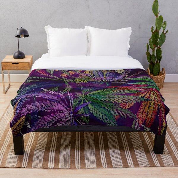 Psychedelic Marijuana Cannabis Leaves Throw Blanket