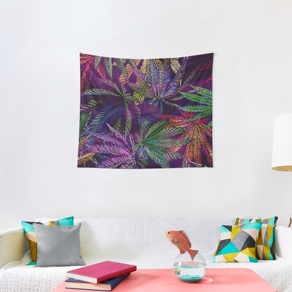 Psychedelic Marijuana Cannabis Leaves Tapestry