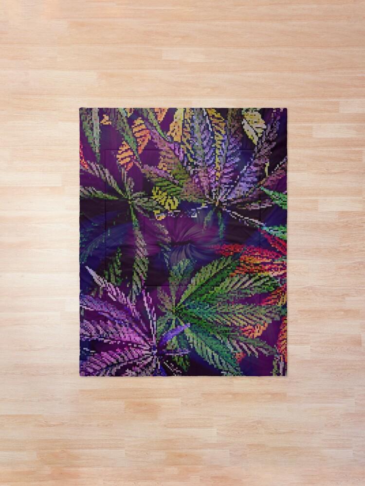 Alternate view of Psychedelic Marijuana Cannabis Leaves Comforter