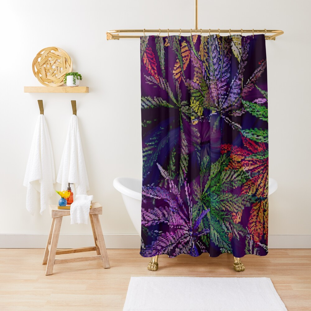 Psychedelic Marijuana Cannabis Leaves Shower Curtain