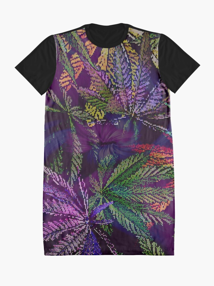 Alternate view of Psychedelic Marijuana Cannabis Leaves Graphic T-Shirt Dress