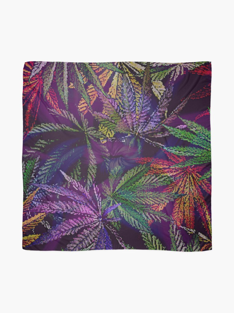 Alternate view of Psychedelic Marijuana Cannabis Leaves Scarf