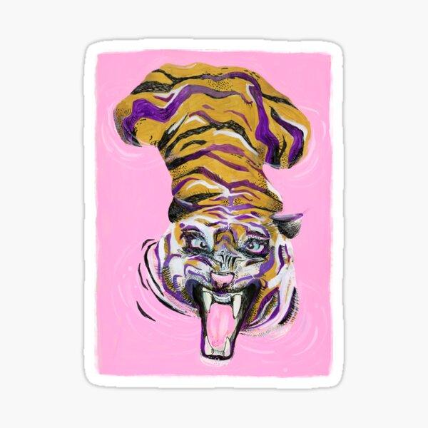 Tiger in the pink bath Sticker