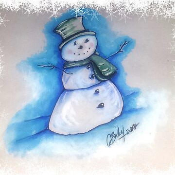 Snowman Holiday Card by cbfineartstudio