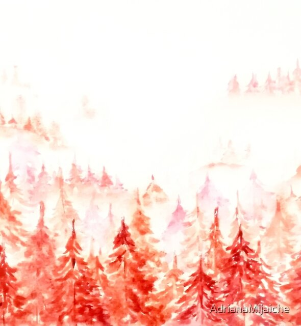 Pines Forest-abstract watercolor by AdrianaMijaiche