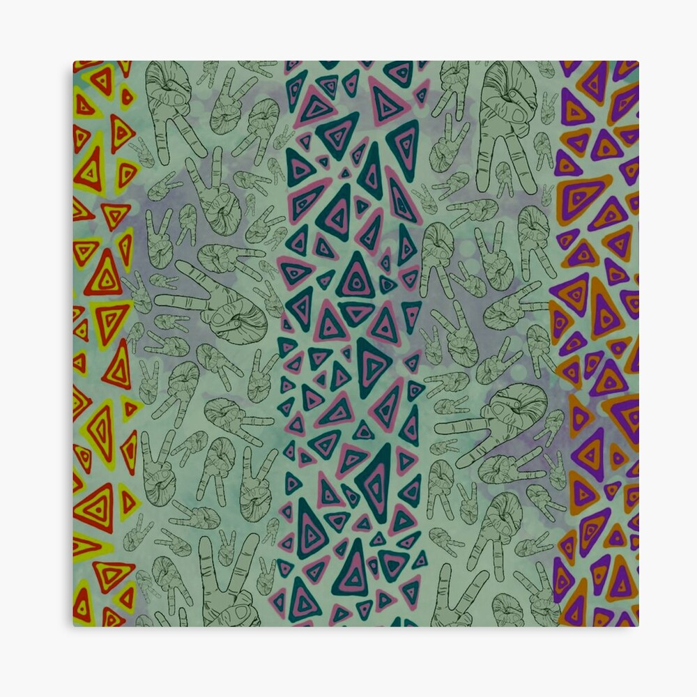 Green Pink and Yellow Geometric Canvas - Green Wall Decor