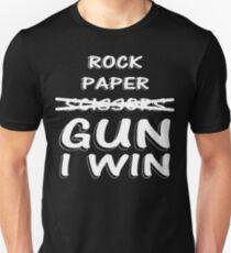 Rock Paper Scissors GUN I WIN  T-Shirt