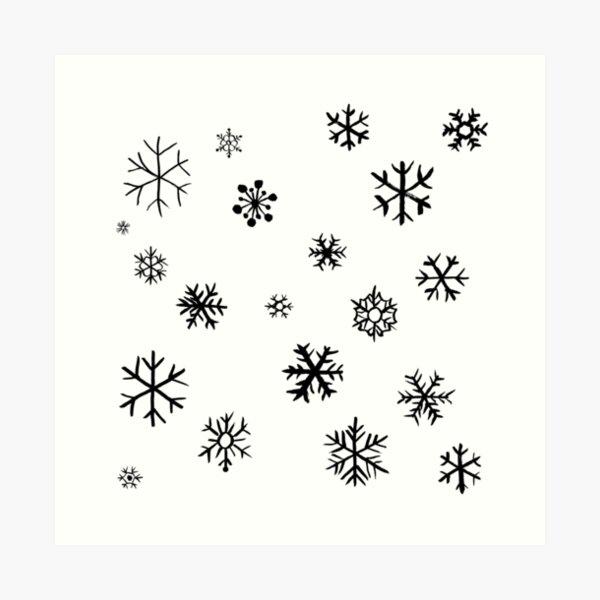 Snowflakes (black) Art Print