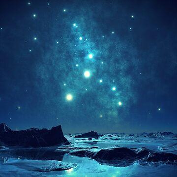 Starry blue night by fourretout
