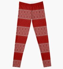 Red and white christmas seamless pattern background Leggings