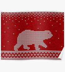 Christmas knitting seamless pattern background with polar bear Poster