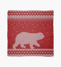 Christmas knitting seamless pattern background with polar bear Scarf