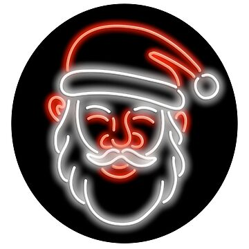Santa Claus Neon Glowing Sign Circle by patrimonio