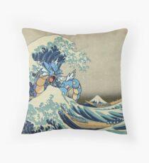 The Great Wave Off Gyarados Throw Pillow