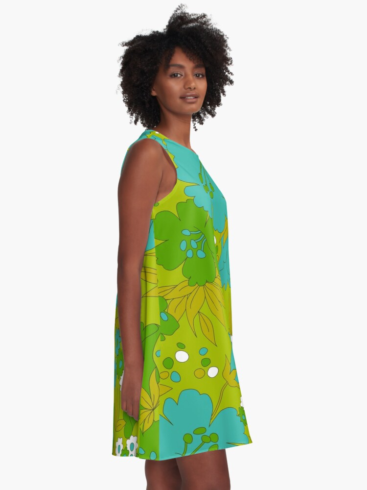 Alternate view of Green, Turquoise, and White Retro Flower Pattern A-Line Dress