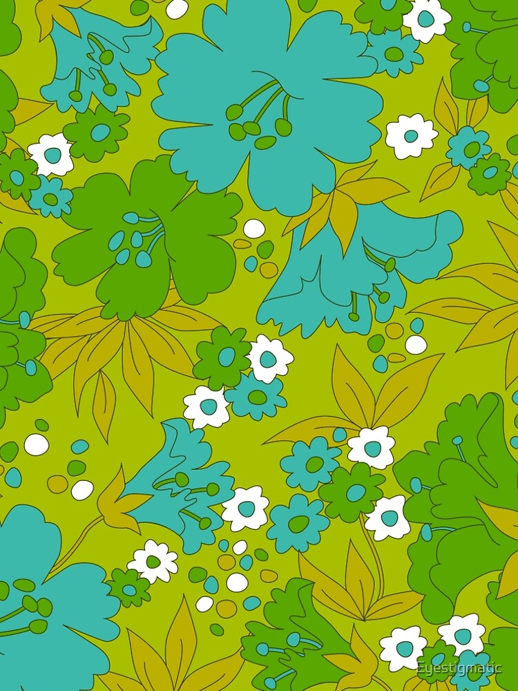 Green, Turquoise, and White Retro Flower Pattern by Eyestigmatic